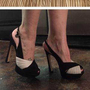 Ysl black white palais peeptoe slingback heels